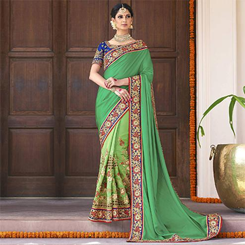 Ravishing Green Designer Embroidered Silk Georgette Saree