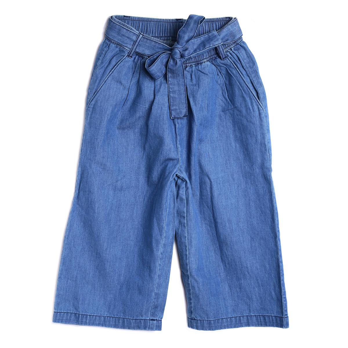 612 League - Blue Colored Cotton Denim Cullotes For Girls