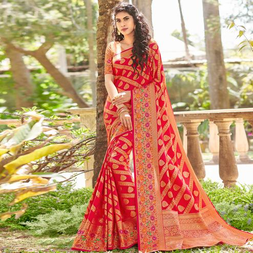 Radiant Red Colored Festive Wear Woven Silk Saree