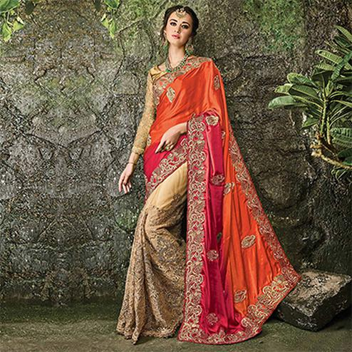 Gorgeous Orange-Beige Designer Embroidered Satin & Net Saree