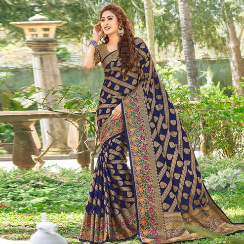 Energetic Navy Blue Colored Festive Wear Woven Silk Saree