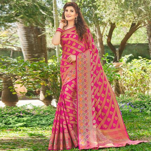 Glowing Pink Colored Festive Wear Woven Silk Saree