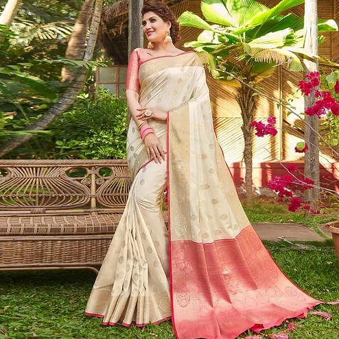 Unique Offwhite Colored Festive Wear Woven Silk Saree