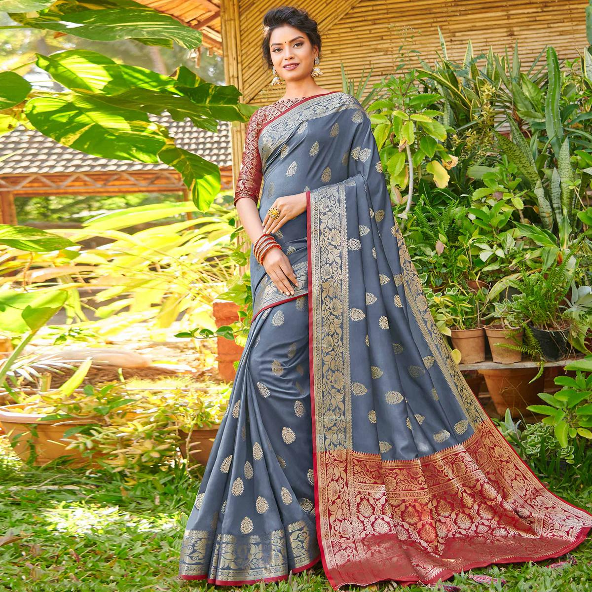 Demanding Dark Grey Colored Festive Wear Woven Silk Saree