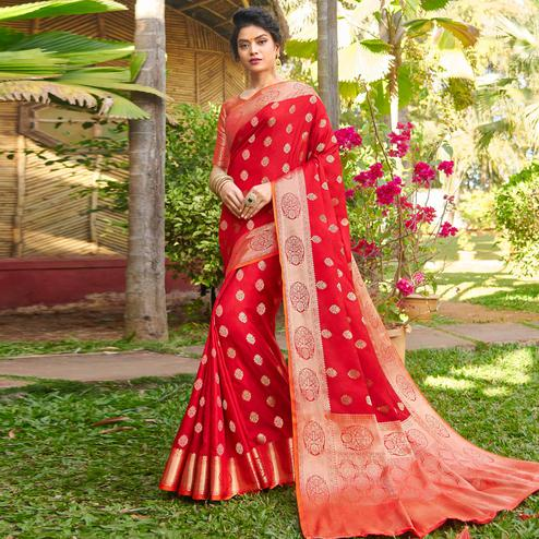 Magnetic Red Colored Festive Wear Woven Silk Saree