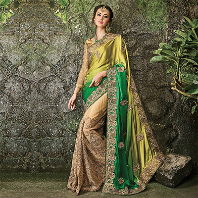 Glamorous Green-Beige Designer Embroidered Satin & Net Saree