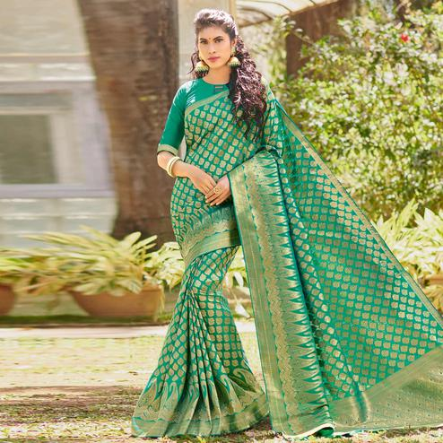 Marvellous Turquoise Green Colored Festive Wear Woven Silk Saree