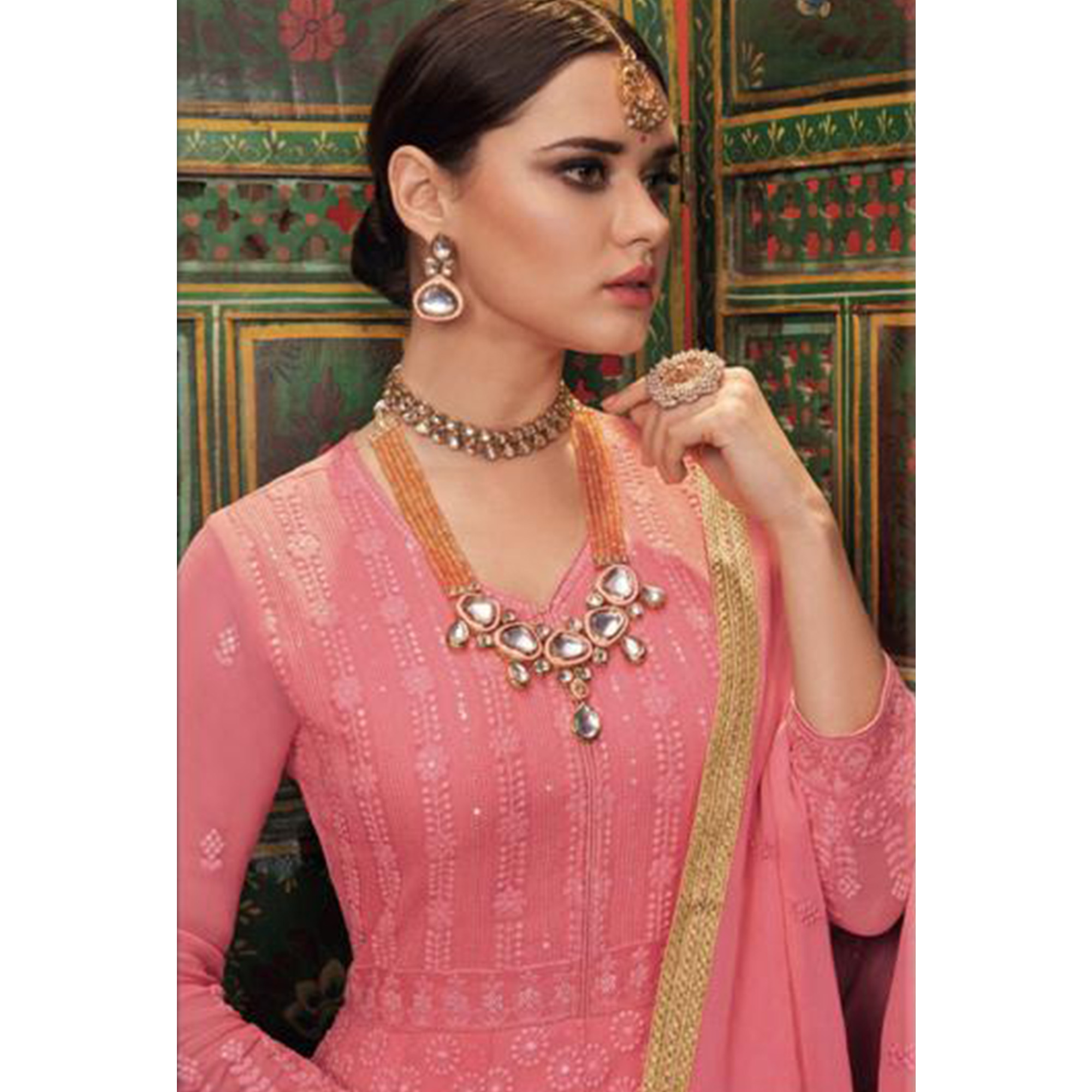 Imposing Pink Colored Partywear Embroidered Faux Georgette-Net Anarkali Suit