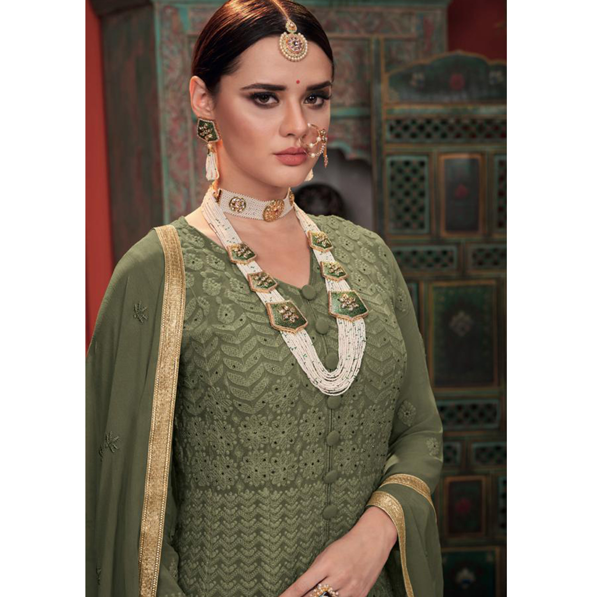 Lovely Olive Green Colored Partywear Embroidered Faux Georgette-Net Anarkali Suit