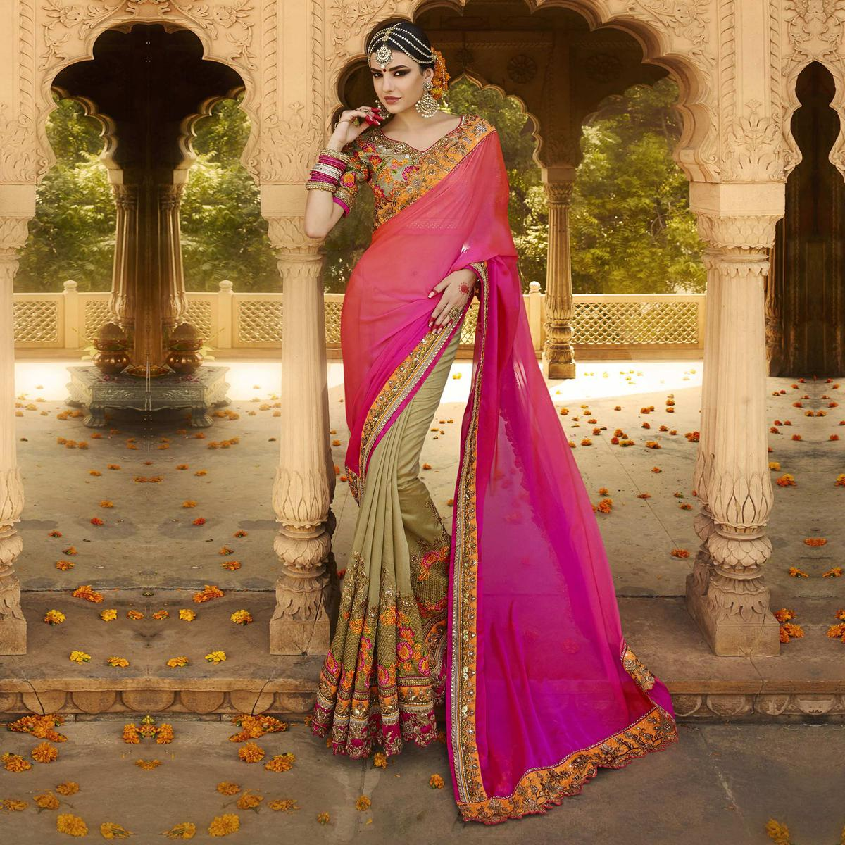 Classy Pink-Beige Designer Embroidered Satin Silk Saree