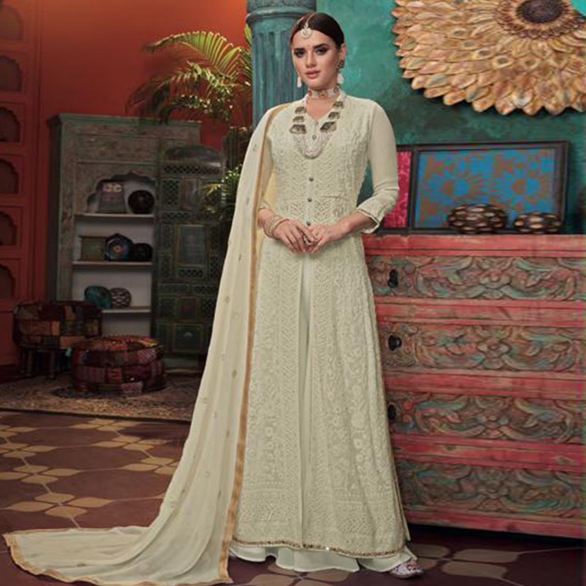 Majesty Pastel Green Colored Partywear Embroidered Faux Georgette-Net Anarkali Suit