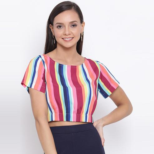 All Ways You - Multi Colored Casual Wear Striped Printed Polyester Cinched Waist Crop Top