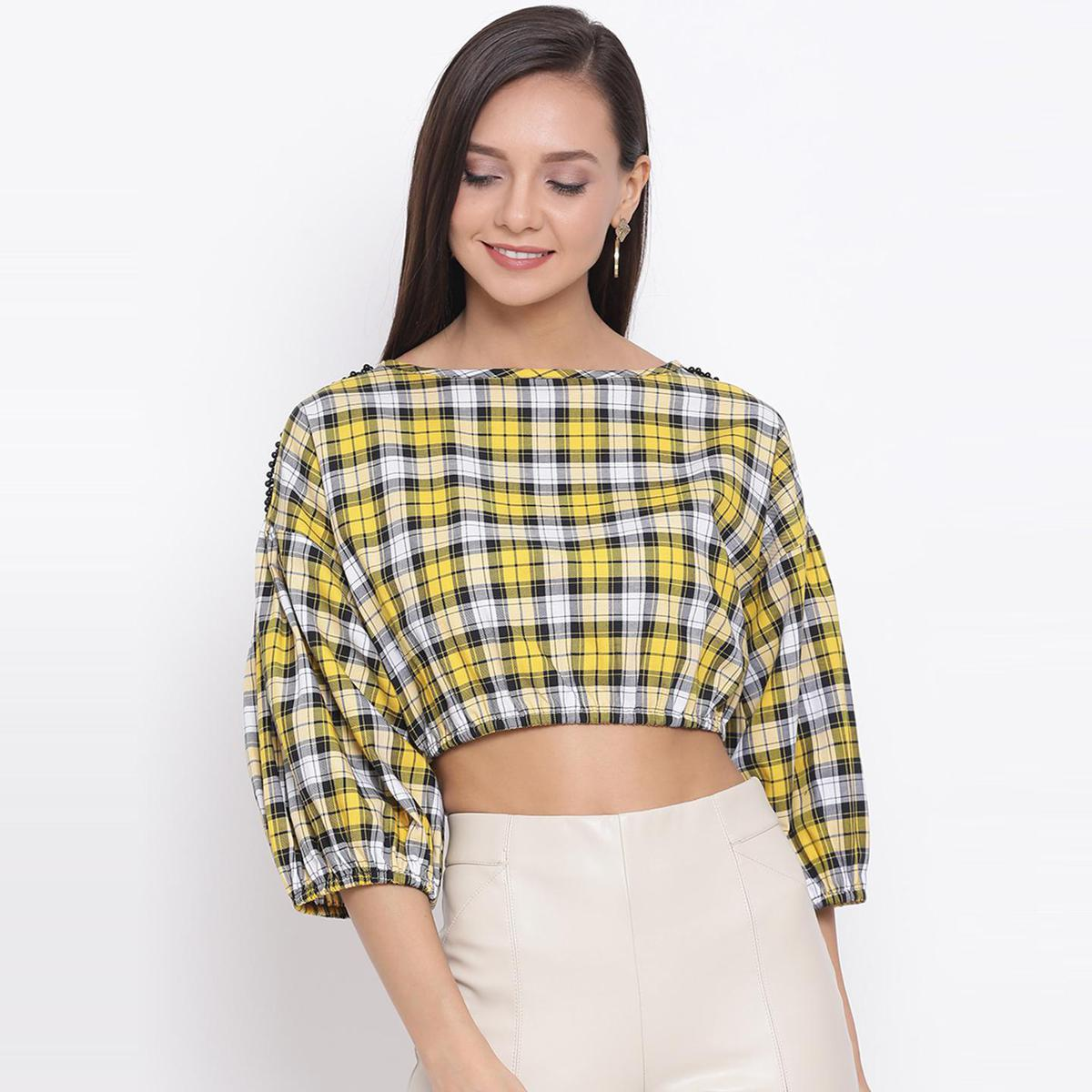All Ways You - Yellow Colored Casual Wear Checked Cotton Blouson Crop Top
