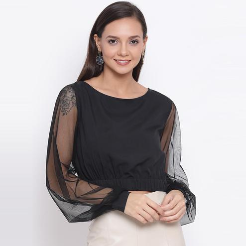 All Ways You - Black Colored Casual Wear Self Design Semi-sheer Polyester Cropped Top