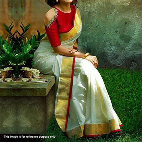 White - Red Chanderi Saree