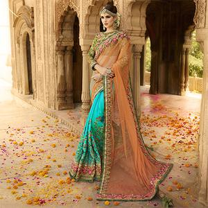 Elegant Blue-Peach Designer Embroidered Mono Net & Turki Silk Saree