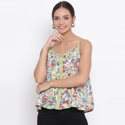 All Ways You - Sea Green Colored Casual Wear Floral Printed Polyester Top