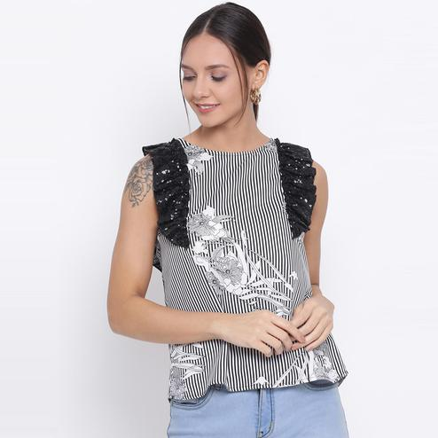 All Ways You - Black & Off-white Colored Casual Wear Floral Printed Polyestertop