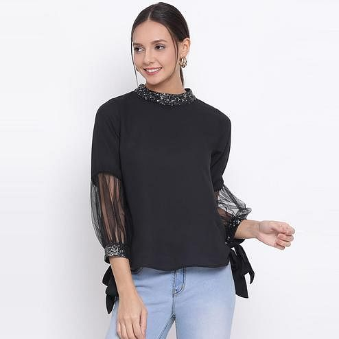 All Ways You - Black Colored Casual Wear Styled Back Polyestertop