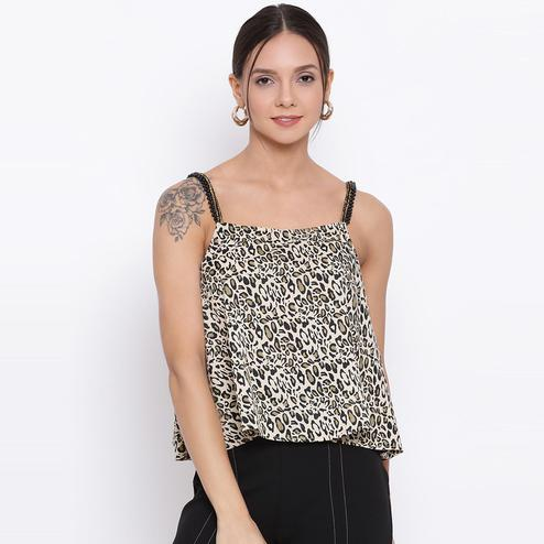All Ways You - Black Colored Casual Wear Printed Polyester Top