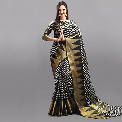 Stunning Black Festive Wear Woven Silk Saree