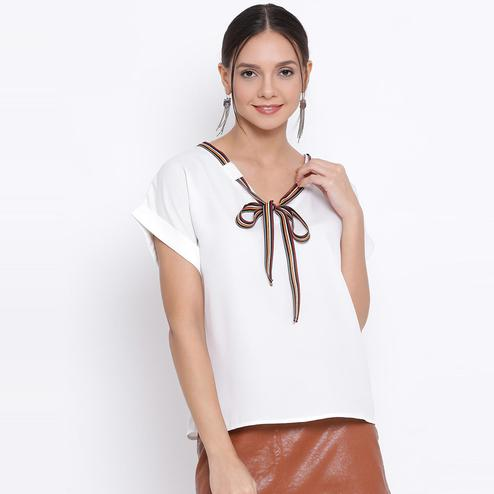 All Ways You - White Colored Casual Wear Polyester Top