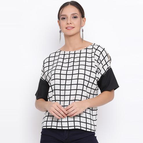 All Ways You - Off-white & Black Colored Casual Wear Checked Polyester Top