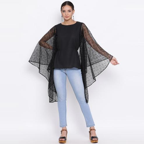 All Ways You - Black Colored Casual Wear Lace Polyester Cape Top