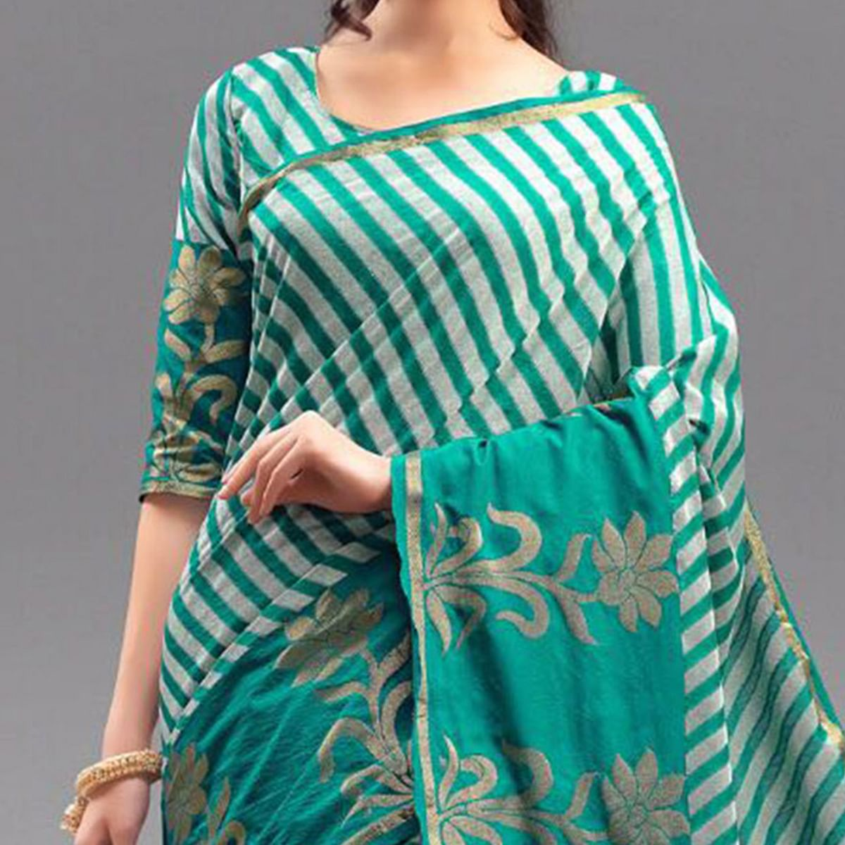 Adorable Green Festive Wear Woven Silk Saree