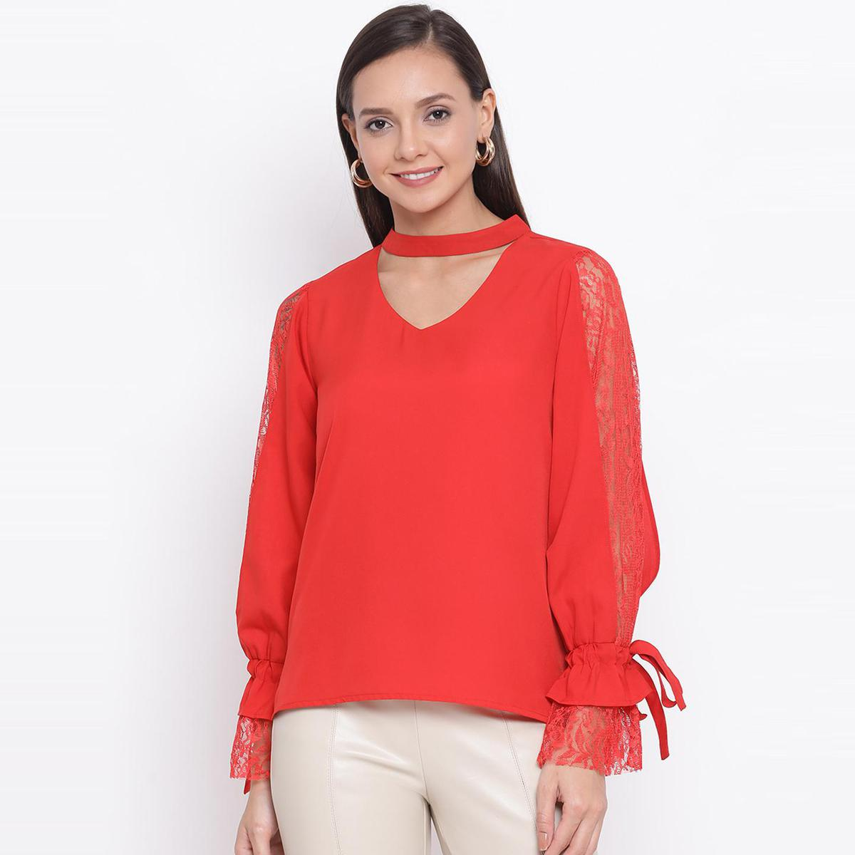 All Ways You - Red Colored Casual Wear Self Design Polyester Fitted Top