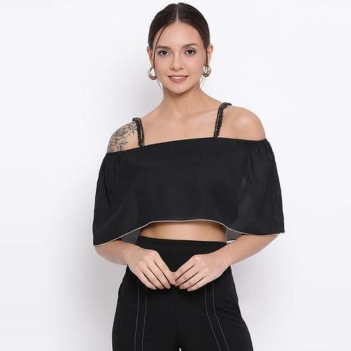 All Ways You - Black Colored Casual Wear Polyester Spaghetti Top