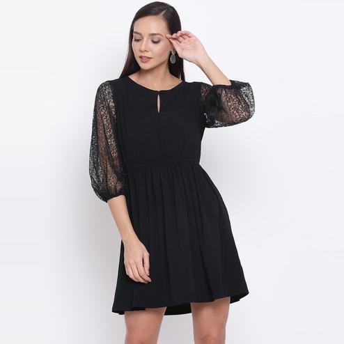 All Ways You - Black Colored Casual Wear Ballon Net Sleeve Polyester Dress