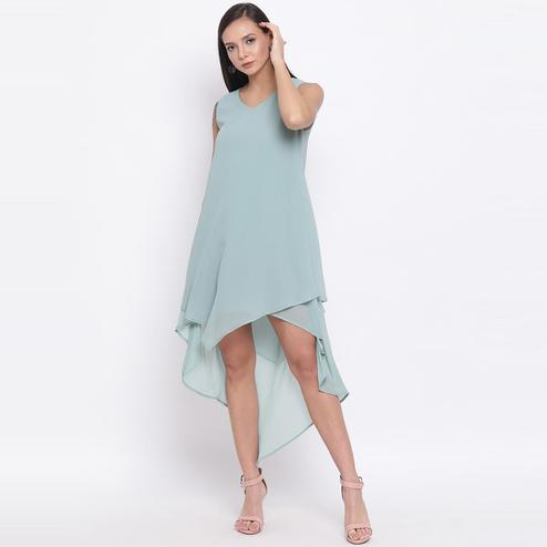 All Ways You - Light Blue Colored Casual Wear Polyester Falre Dress