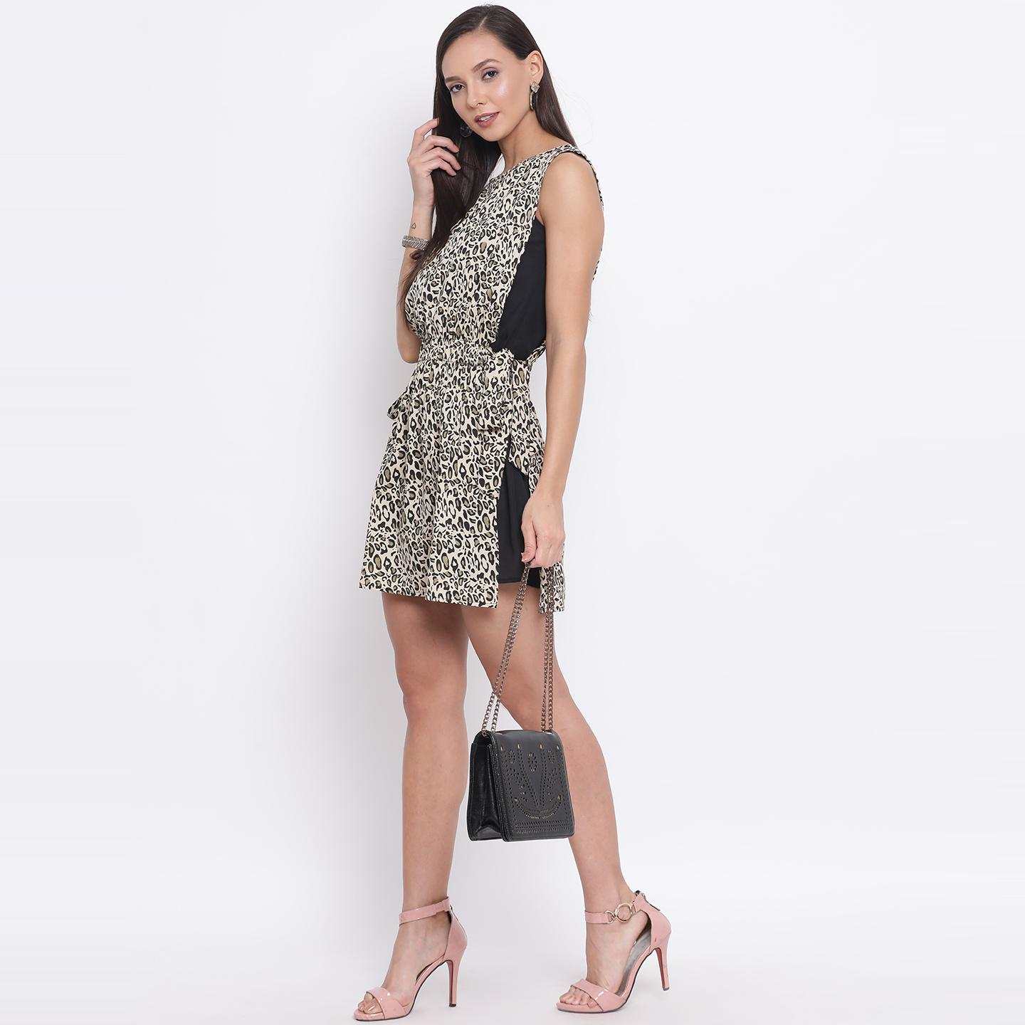 All Ways You - Black Colored Casual Wear Printed Polyester A-line Dress