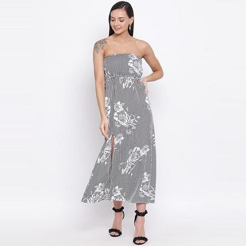 All Ways You - Black-white Colored Casual Wear Printed Polyester Tube Maxi Dress