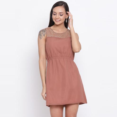 All Ways You - Mauve Colored Casual Wear Polyester A-line Dress