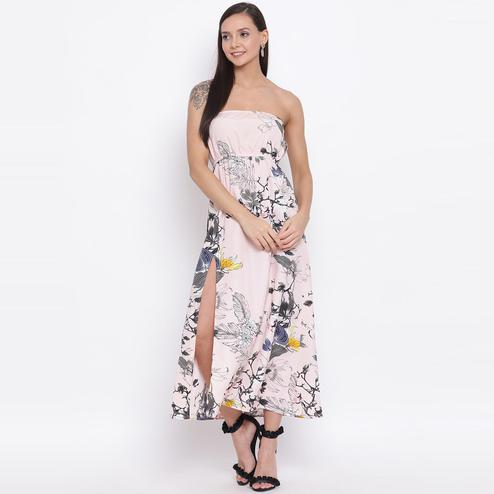 All Ways You - Light Pink Colored Casual Wear Floral Printed Polyester Tube Dress