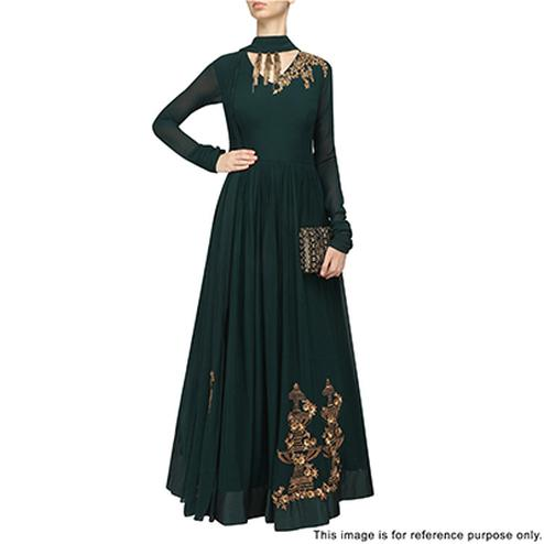 Beautiful Green Partywear Designer Embroidered Faux Georgette Gown