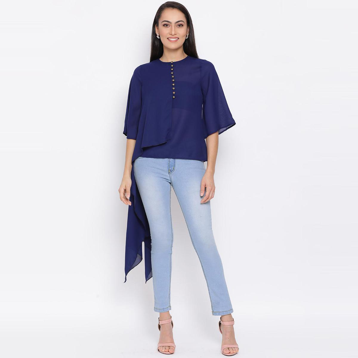 All Ways You - Blue Colored Casual Wear Polyester Falre Top
