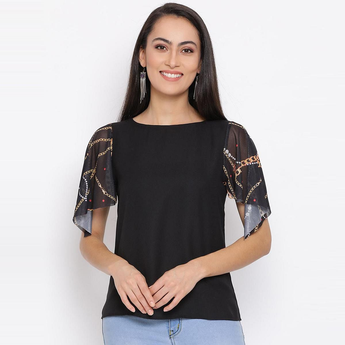 All Ways You - Black Colored Casual Wear Self Design Semi-sheer Polyester Top
