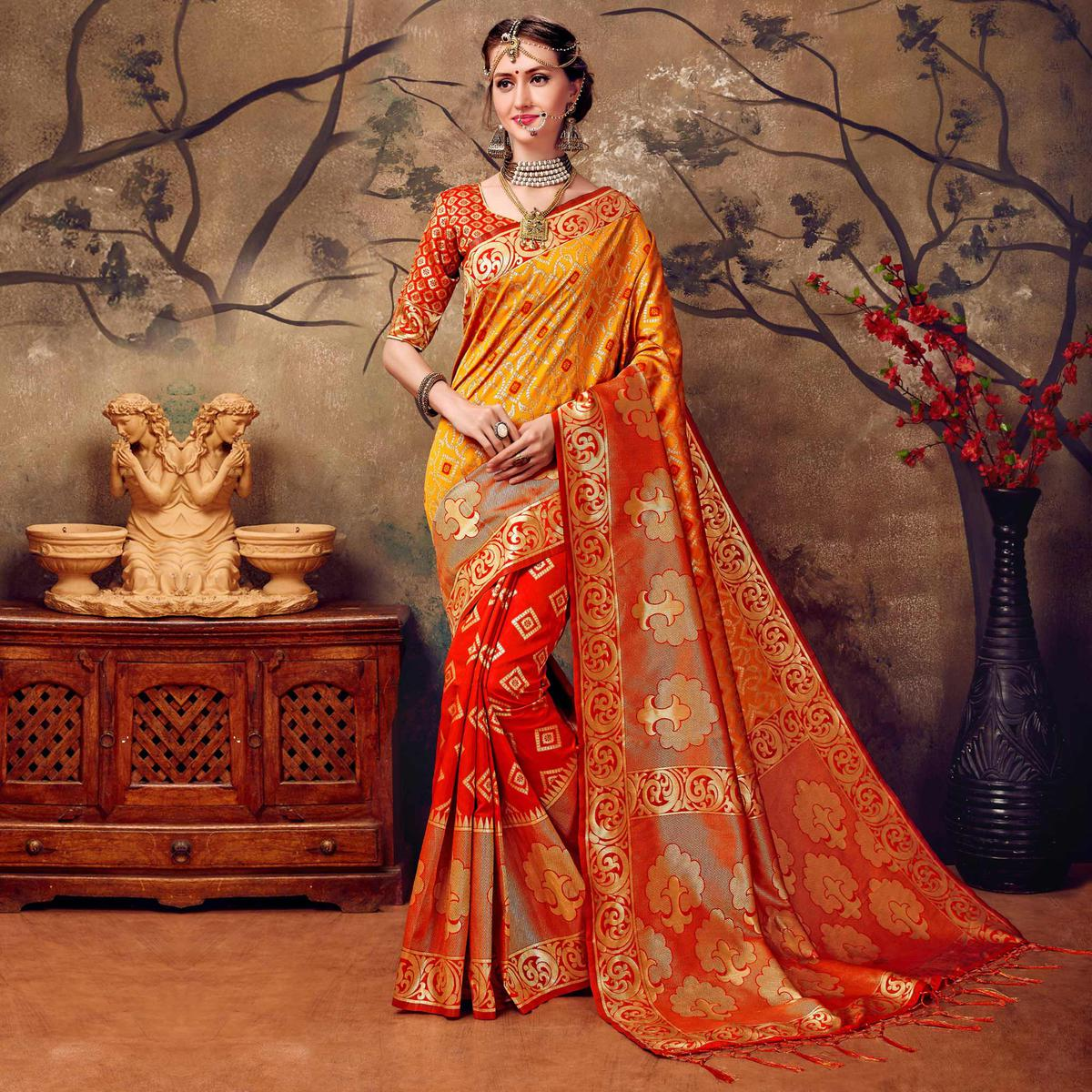 Red - Yellow Designer Cotton Silk Jacquard Saree