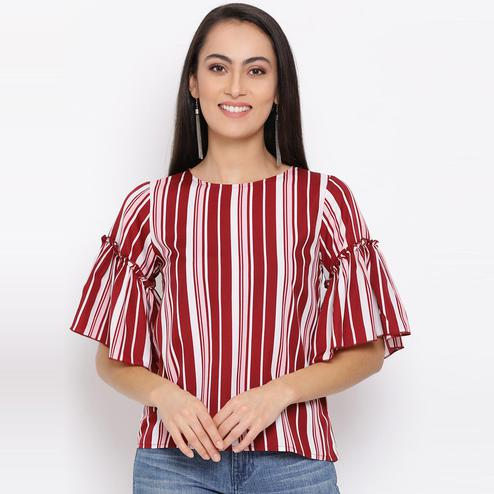 All Ways You - Red-white Colored Casual Wear Striped Polyester Top