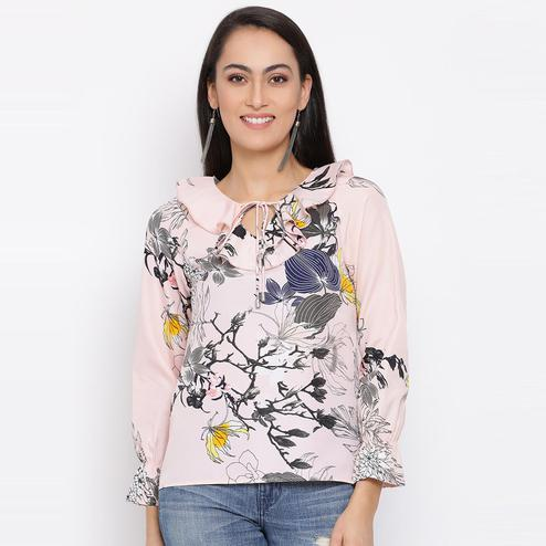 All Ways You - Light Pink Colored Casual Wear Printed Polyester Top