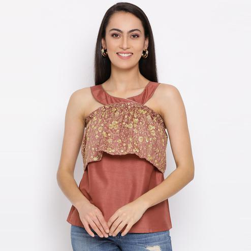 All Ways You - Brown Colored Casual Wear Schiffli Peasant Polyester Top