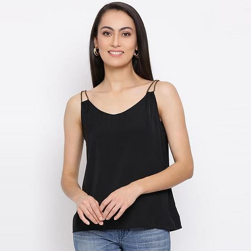All Ways You - Black Colored Casual Wear Polyester Top