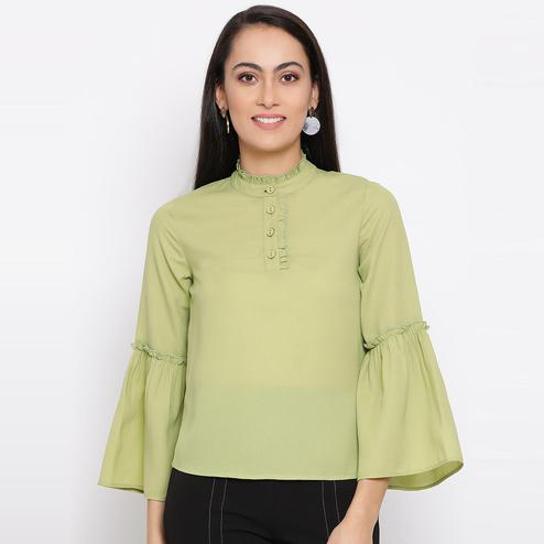 All Ways You - Green Colored Casual Wear Polyester Top