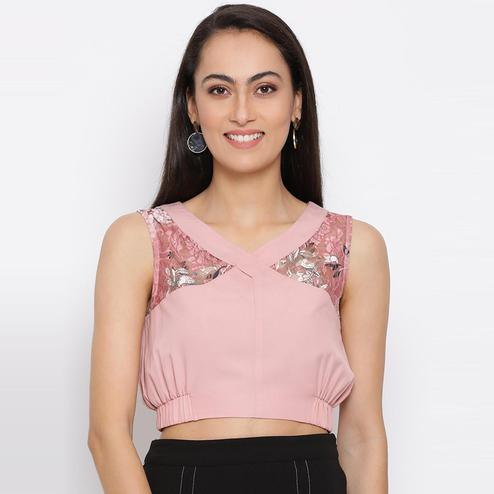 All Ways You - Pink Colored Casual Wear Polyester Crop Top