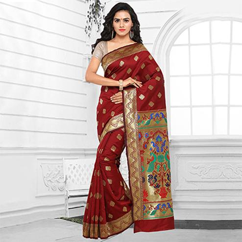 Maroon Cotton Silk Jacquard Saree