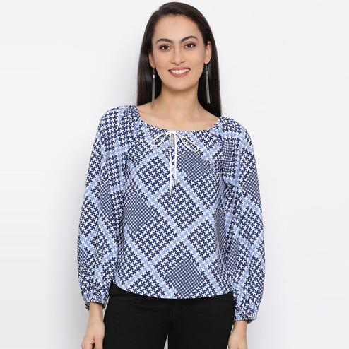 All Ways You - Blue Colored Casual Wear Checked Printed Polyester Top
