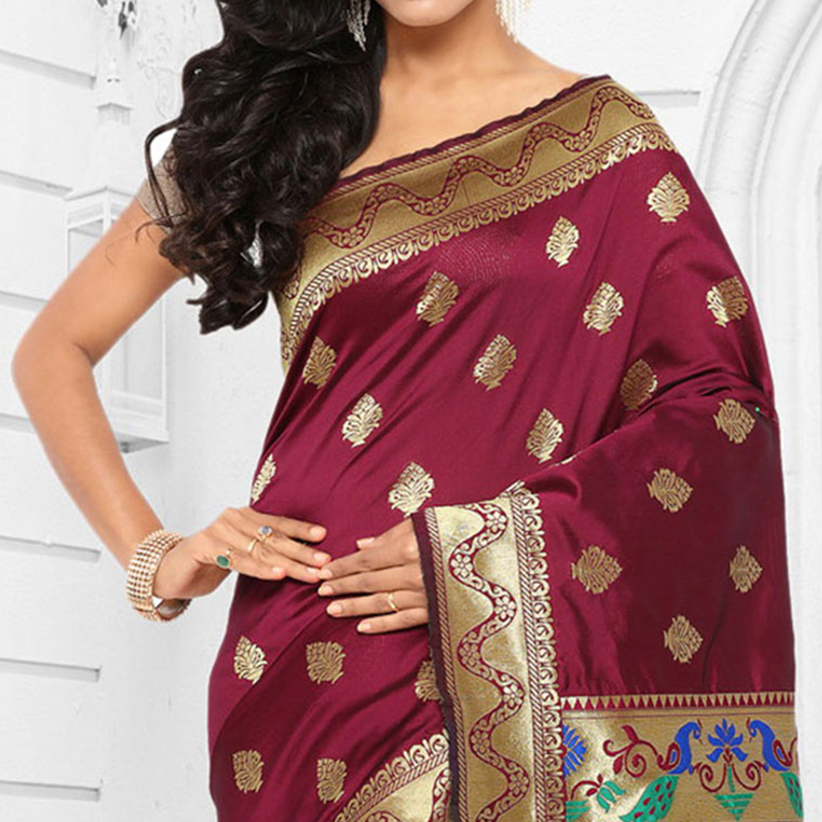 Wine Cotton Silk Jacquard Saree